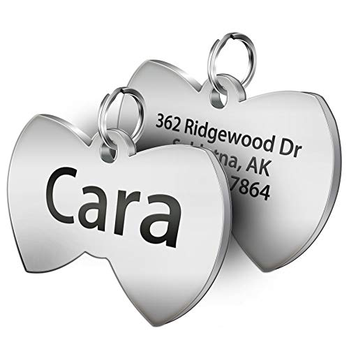 SpecialYou Custom Dog Tags Personalized Engraved Stainless Steel Pet Supplies Gift Shaped in Bone, Round, Cat's Head, Bow Tie, Flower, Shield, Star (Bow-tie)