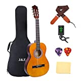 Beginner Guitar Acoustic Classical Guitar 3/4 Junior Size 36 inch Kids Child Student Guitar 6 Nylon Strings Guitar Starter Kits with Waterproof Bag Guitar Clip Tuner Strap Picks Wipe