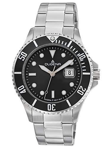 Dugena Herren Quarz Armbanduhr Diver XL mit Edelstahlband Schwarz/Silberfarben 4461002