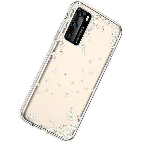 Herbests Kompatibel mit Huawei P40 Hülle Dünne Transparent TPU Schutzhülle Crystal Clear Silikon Stoßfest Hülle Durchsichtig Handyhülle mit Süße Niedlich Muster,Weiße Kirschblüten