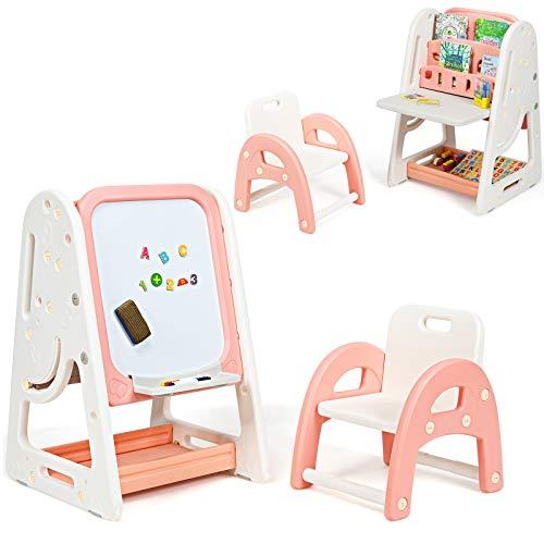 COSTWAY 2 in 1 Cavalletto per Bambini Lavagna Magnetica Multifunzione Bifacciale, Libreria Bambini Altezza Regolabile, con Sedia e Accessori (Rosa-Arancione)