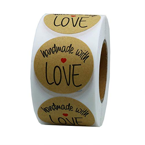Rollo de 500pcs Pegatinas Etiqueta Adhesiva Pegatina, redondas, Kraft Handmade with Love Stickers Labels Roll para Sello Scrapbooking Regalo Bolsa Recuerdo Boda Fiesta Aniversario Cumpleaños