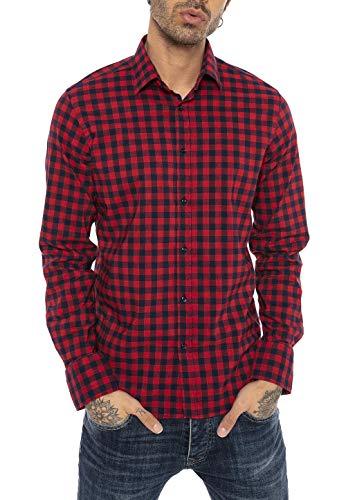 Redbridge Hemd für Herren Freizeithemd Langarm Baumwolle Kariert Modern Fit Rot L
