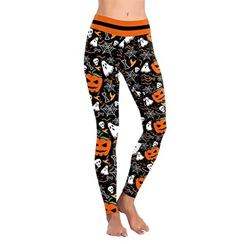 Leggins Mujer Push Up Pantalones Fitness Mallas, Señoras for Mujer Halloween Spider Web Ghost Calabaza Calavera Hueso Impresiones Leggings Medias Pantalones Pantalones Pantalones Pantalones Elásticos