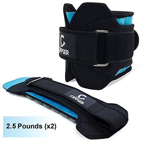 CIPPSER Premium Ankle Weights for Women & Men | Exercise Leg Weights Great for Glutes Workout, Running, Lifting, Jogging or Cardio | Ankle Weights (2.5 Pounds x 2)