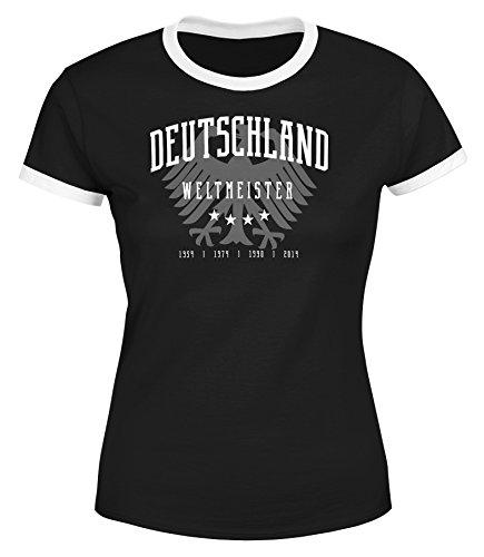 MoonWorks Damen WM-Shirt Deutschland T-Shirt Fußball Weltmeistser Adler Vier Sterne Slim Fit tailliert schwarz-weiß S