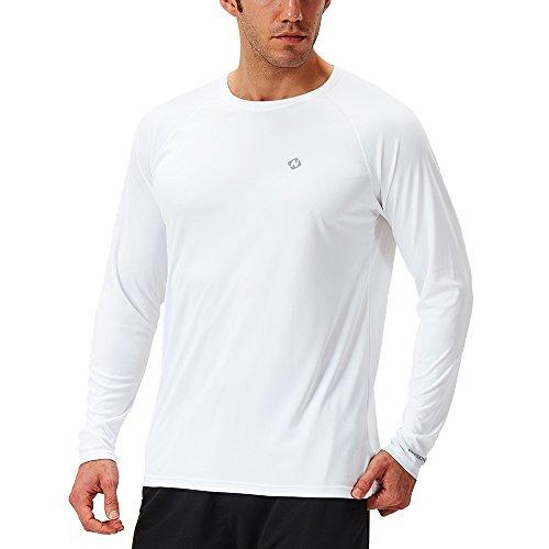 NAVISKIN Protection Le Soleil Anti- UV T-Shirt à Manches Longues pour Homme Blanc Taille L