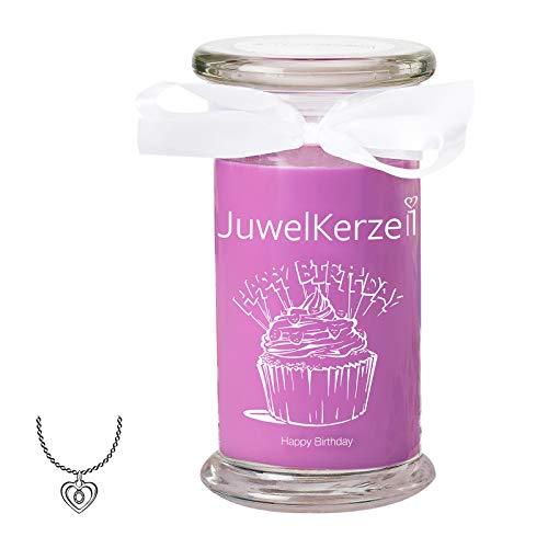 JuwelKerze Happy Birthday - Duftkerze im Glas Groß mit Schmuck Überraschung - Geschenkidee für Frauen (Silber Halskette & Anhänger, Duft nach Karamell und Cupcake)