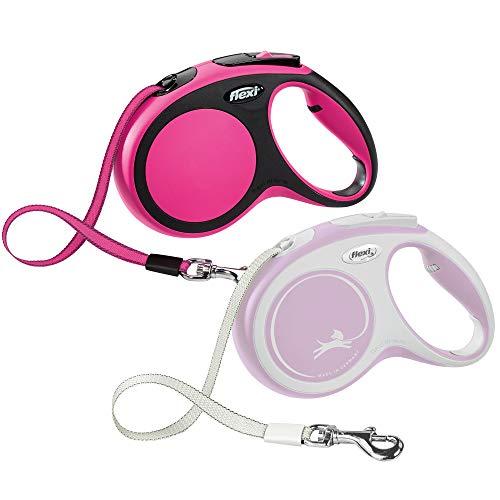 FLEXI New Comfort Retractable Dog Leash (Tape), 16 ft, Medium, Pink, Pink (CF20T5.250.P)