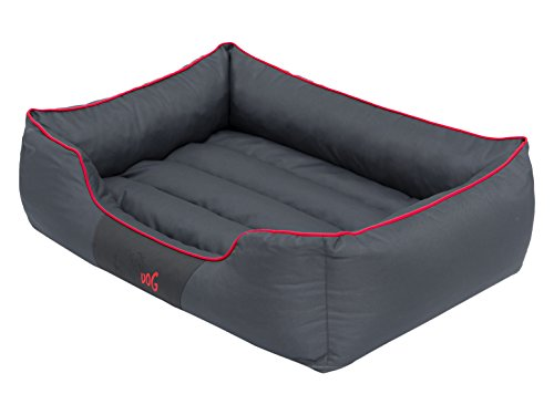 Hobbydog CORSCL12 Hundebett Hundesofa Hundekorb Tierbett Comfort, L, 65 x 50 cm, grau mit einem roten Streifen
