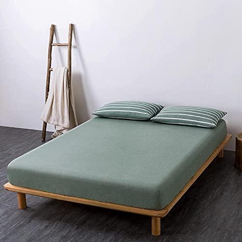 GuLL Sábana bajera ajustable, 100% algodón, para colchón de hasta 30 cm de altura, 150 x 200 cm, color verde guisante