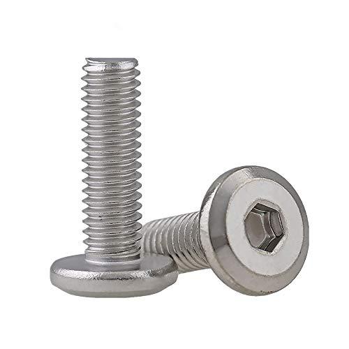 Tornillos hexagonales de cabeza de botón con brida, de acero inoxidable, cabeza plana, hexagonal, tornillos de máquina, herramientas de sujeción, pernos Allen (M8 x 60 mm)