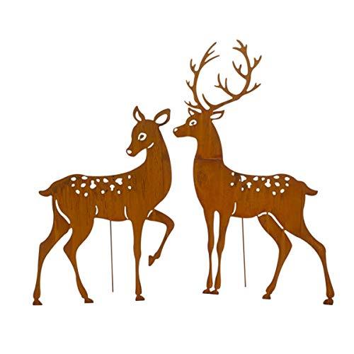 Pureday Weihnachtsdeko - Dekofiguren XXL Hirsch-Paar 2er Set - Gartendeko - Metall - Rost