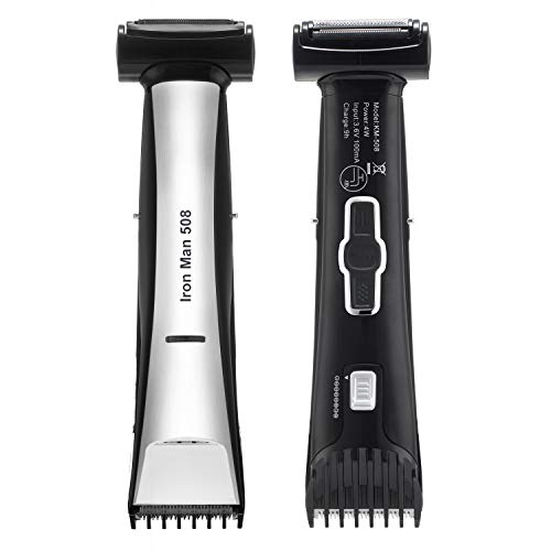 Lanvier Dual Side Body Groomer, Waterproof 2 in 1 Body Trimmer and Shaver for Men and Women - Back & Silver