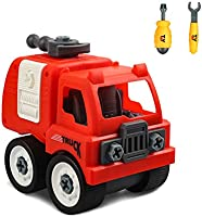 Pulewei EU Fire Toy for Boys Toys 3 4 5 Year Old Preschool Building Toys Fire Truck Engine Boys Gift Take Apart Toy Car...