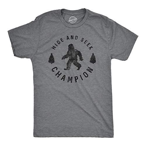 Mens Hide and Seek Champion T Shirt Funny Bigfoot Tee Humor Cool Graphic Print (Dark Heather Grey) -...
