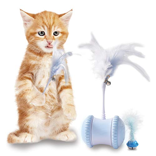 Robotic Interactive Cat Toy, Automatic Cat Toys for Indoor Cats, USB Rechargeable Electronic Kitten Toys Cat Feather Toys with 360°Self Rotating Ball & Led Light, 2 Feathers, for All Floors&Carpet