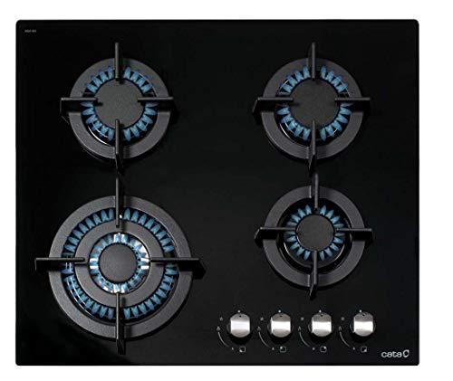 CATA Encimera de Gas | Modelo: CCI 6031 BK | 4 Ancho de 59 cm | Quemadores de Hierro Fundido | Color Negro, Acero