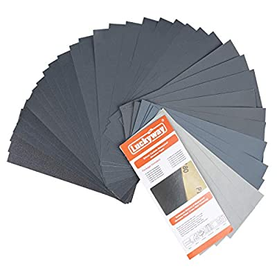 Luckyway 36-Sheet, 9 x 3.6 Inch, 120 To 5000 Assorted Grit Sandpaper for Wood Furniture Finishing, Metal Sanding and Automotive Polishing, Dry or Wet Sanding