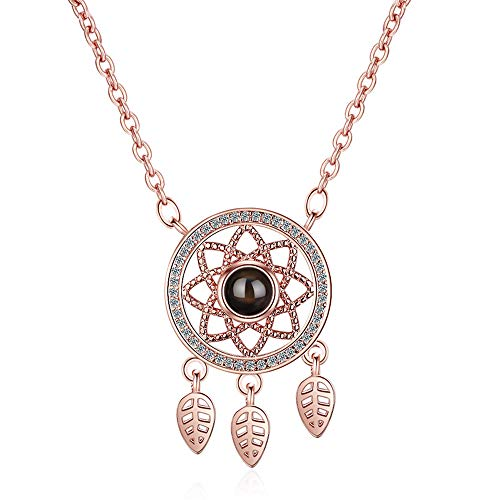 S925 Silver Rose Gold Dream Catcher Pendant, 100 Languages i Love You Projection Custom Necklace for Women (rose gold)