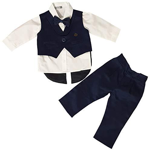 Dilaras Babybekleidung Taufanzug 4 Teilig Baby Jungen (Dunkelblau, 62/68 (3-6 Monate, Weste mit 1 Knopf))