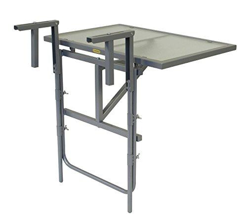 gartenmoebel-einkauf Balkonhängetisch 60x40cm, Stahl Silber + Sicherheitsglas, klappbar