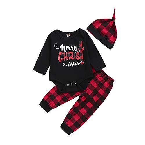 JKstore - Set di vestiti natalizi con cappelli, a maniche lunghe, per bambini, 3 pezzi, set di vestiti natalizi Nero 9 mesi