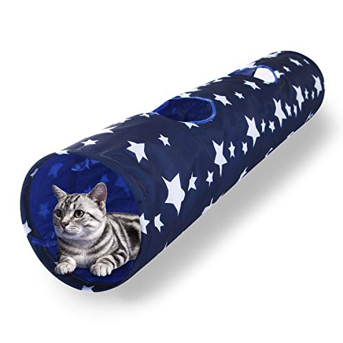 Luckitty Cat Toys Collapsible Large Tunnel Tube Plush Ball Rabbits, Kittens, Ferrets,Puppy...