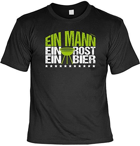 Grill/Bier T-Shirt: EIN Mann, EIN Rost, EIN Bier, Schwarz, kleines Mitbringsel zur nächsten Grillparty