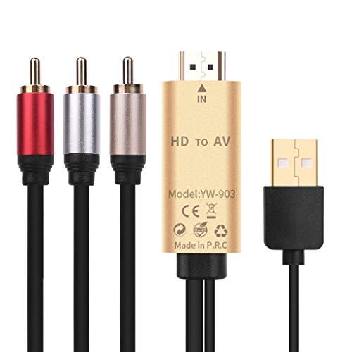 Bascar Cable adaptador HDMI a 3 RCA AV Audio Video Cable adaptador para TV HDTV DVD 1080p Proyector Activo Universal HDMI Hembra/Macho