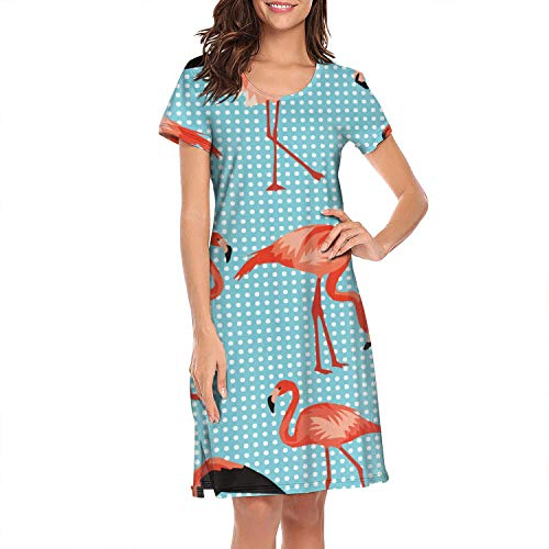 Nightgown Womens Sleepwear Blue Cute Flamingo Tropical Short Night Dress Nightwear