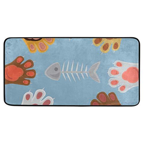 MALPLENA Carpet Cats Playing Rock Paper Scissors Area Rug Antislip Floor Mat Doormats for Patio or Family Room 39 x 20 in