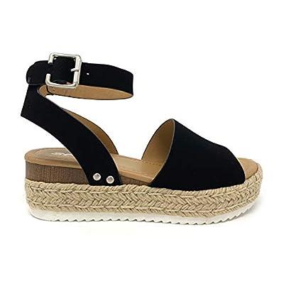 Soda Topic Topshoe Avenue Women's Open Toe Ankle Strap Espadrille Sandal (9, Black)