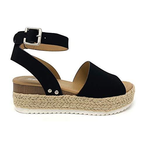 Soda Topic Topshoe Avenue Women's Open Toe Ankle Strap Espadrille Sandal (10 M US, Black)