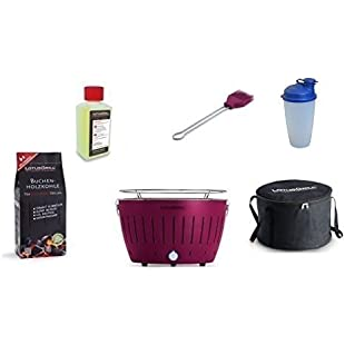 LotusGrill Starter Set 1x LotusGrill Plum Purple 1Beech Charcoal 1kg-1Lighting Gel 200ml, Marinating Brush Plum/Purple, 1X Dressing Shaker, Transportation Bag, The Smoke-Free Charcoal Tabletop Grill The Newest Technology. In Various Colours.:Tytoftetsi