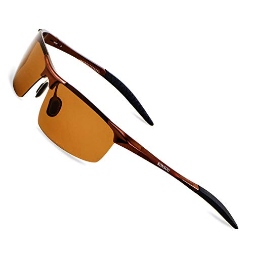 RONSOU Mens Sunglasses Polarised Sports UV Protection Ultralight Al Mg Sun Glasses for Women Fishing Cycling Golf Coffee Frame Coffee Lens