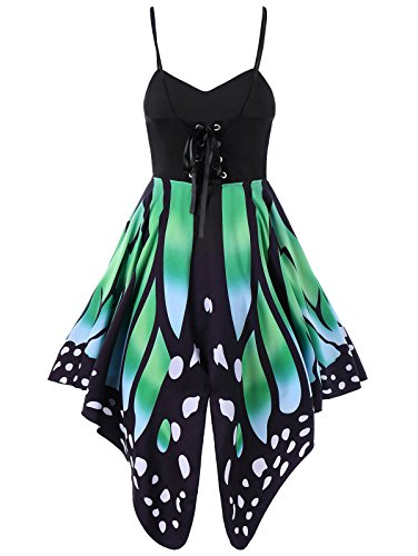 Aro Lora Women s Butterfly Printed Lace up High Waist A Line Irregular Swing Dress Large Green