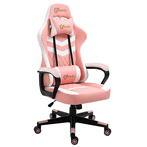 Vinsetto Racing Gaming Chair with Lumbar Support, Headrest, Swivel Wheel, PVC Leather Gamer Desk Chair for Home Office, Pink White