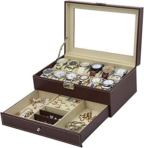 12 Slots Watch Box Mens Watch Organizer PU Funda de cuero con cajón de joyas para almacenamiento y visualización, negro