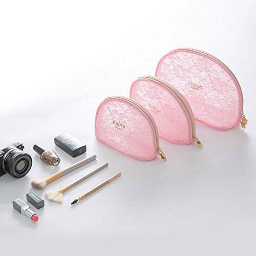 Portable de voyage en maille filet Organiseur de maquillage de toilette Sac Rose, grande taille rose rose 3 Sets