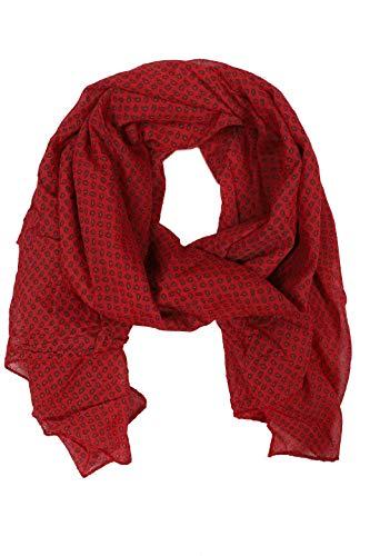 Zwillingsherz Seiden-Tuch im trendigem Design - Hochwertiger Schal für Damen Mädchen - Halstuch - Umschlagstuch – Pashmina - Loop - weicher Schlauchschal für Frühjahr Sommer Herbst Winter - rot