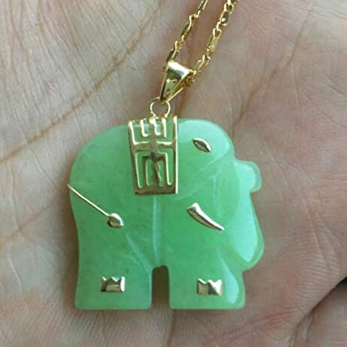 EASTCODE Asian Natural Green Jade Elephant Pendant Necklace