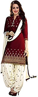 Kesari King Women's Cotton Semi-Stitched Maroon Salwar Suit | Panjabi Dress Material Free size