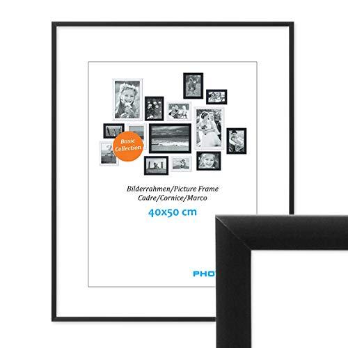 PHOTOLINI Alu-Bilderrahmen 40x50 cm Modern Schwarz Aluminium-Posterrahmen mit Acrylglas