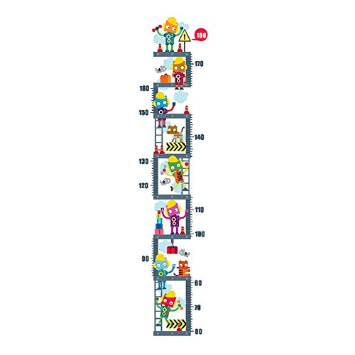 Winhappyhome Robots Kids Height Measurement Chart Wall Art Sticker for Bedroom Living Room Background Removable Decor Decals