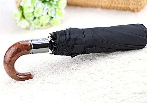 YDL Asa De Cuero Curvado Hombres Hombres Automáticos Paraguas Masculino A Prueba De Viento Negro Parasol Parasol Lluvia Paraguas (Color : B)