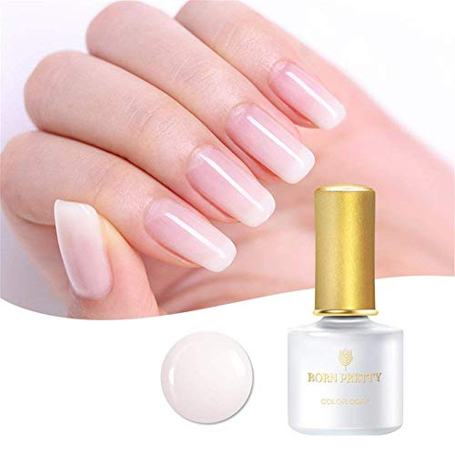 Born Pretty Gellack Milchig Weiss, Milchig Weiß Gel UV 6ml Opal Jelly Gel Transparent Weiß Nagellack Gel Nail Art Klassischer und All-MatchStil UV LED Soak Off Manicure Gel Lacquer Varnish