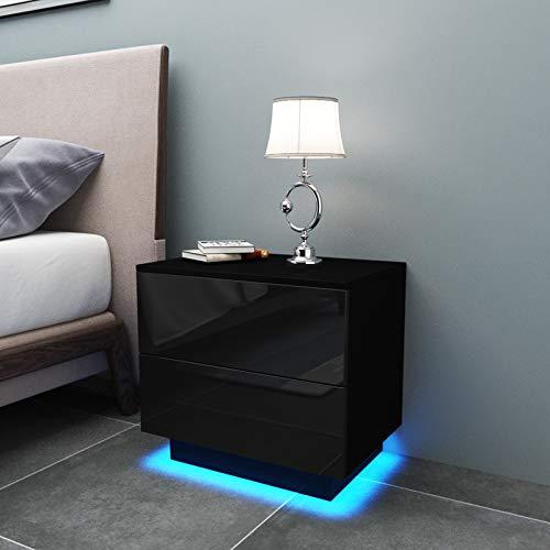YOLEO Nachttisch 2er Set, LED Nachtschrank Hochglanz Nachtkommode Nachtkonsole mit 2 Schubladen, Beleuchtung Ablagetisch Beistelltisch für Schlafzimmer Wohnzimmer (Schwarz/55x37x50cm)