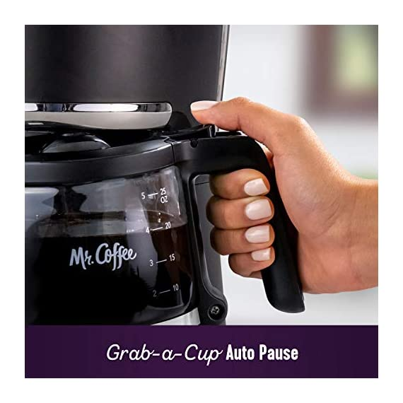 Mr. Coffee 5 Cup Programmable 25 oz. Mini, Brew Now or Later, with Water Filtration and Nylon Reusable Filter, Coffee… 2 Compact design that fits nicely into small spaces Brew later feature allows you to set your coffeemaker ahead and wake up to fresh brewed coffee Ergonomic carafe designed for easy pouring and handling with ounces markings for better measuring