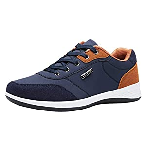 ZODOF Zapatillas Hombre Moda Casual Ata para Arriba Cuero Deporte Zapatos para Correr Respirable Zapatillas Deportivas Trail Trekking Sneakers